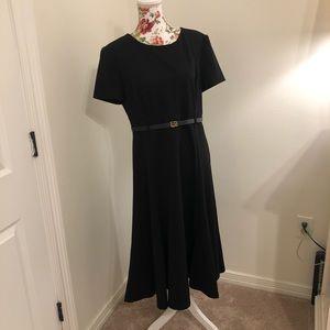 Calvin Klein LBD Black Midi Belted Waist Dress